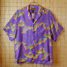 【pataloha】古着ビンテージハワイアン魚総柄パープル(紫)ハワイアン・アロハシャツ【patagonia】 Vaporwave, Aloha Shirt, Mode Vintage, Mode Inspiration, Aesthetic Clothes, My Wardrobe, Button Up Shirts, Style Me, Cool Outfits