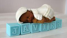 baby shower cake toppers for boys | Boy Baptism Christening Cake Topper Baby Shower name Blocks Gum Paste