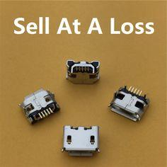10 unids/lote micro usb 5pin largo pin jack hembra conector cuerno de buey g32 rizado boca de cola de carga del teléfono móvil