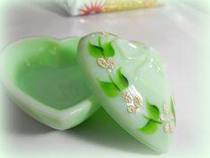 1979 Vintage Green Milk Jadeite Glass Heart by DeeSweetNostalgia