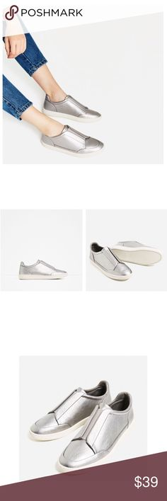 """✨New Listing✨Zara Silver Sneakers NWT Amazing silver sneakers from Zara. These adorable low-tops feature a stretch fastening upper detail, rounded toe, white soles, and pull-on styling. Super cute with a pleated skirt and sweatshirt. NWT.   * Size 6.5 * Sole Height: 0.9"""" * Import * Retail $39.90+Tax Zara Shoes Sneakers"""