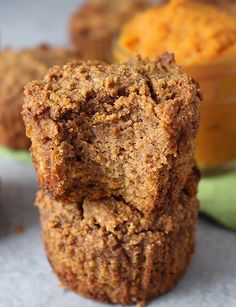 Paleo Pumpkin Muffins - Golden Barrel Paleo Pumpkin Muffins- I'll skip the chocolate chips for my breakfast muffin. Paleo Dessert, Gluten Free Desserts, Healthy Desserts, Easy Desserts, Healthy Food, Paleo Pumpkin Muffins, Gluten Free Pumpkin, Pumpkin Protein Bars, Paleo Pumpkin Recipes