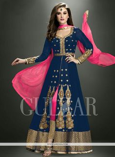 Blue georgette designer salwar suit. The stunning embroidered, resham and zari work all through the dress is awe inspiring. Comes with matching bottom and dupatta.