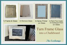 Must try this with old picture frames. Maybe put magnetic paint underneath the chalkboard paint? Perfect for the kitchen- write lists or hold up recipe cards with magnets. Old Picture Frames, Old Frames, Diy Craft Projects, Diy Crafts, Craft Ideas, Diy Ideas, Creative Ideas, Decorating Ideas, Sewing Projects