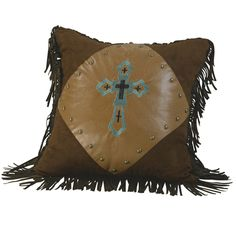"HiEnd Accents Las Cruces Embroidered Cross Pillow 18"" Square #Western #Pillow #HiEnd Accents #DelectablyYoursDecor"
