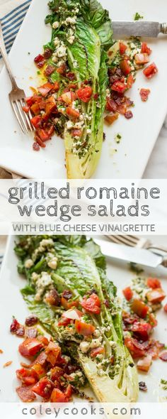 This take on the classic steakhouse wedge salad uses romaine instead of iceberg, is grilled for more flavor, loaded with crispy bacon and juicy tomatoes, plus it's lighter thanks to a blue cheese vinaigrette! Wedge Salad Recipes, Healthy Salad Recipes, Blue Cheese Vinaigrette, Blue Cheese Salad, Grilled Romaine Salad, Grilled Romaine Hearts, Feta, Side Salad, Couscous