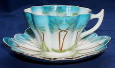 Shelley FOLEY Wileman ART NOUVEAU CUP and SAUCER - Petal shaped - pattern 7069 #cupsaucer