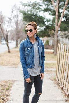 Love the flare the flipped collar brings to this denim jacket