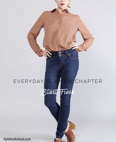 "51 Likes, 4 Comments - STYLEBOOK CLOSET (@stylebookcloset) on Instagram: ""Every day is a new chapter. Start fresh ❤️ Hidden Button Placket Blouse & Flap Pocket Navy Jeans-…"""