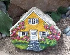 FOR SALE hand painted garden art by MyGardenRocks on Etsy Pebble Painting, Pebble Art, Stone Painting, House Painting, Painted Garden Rocks, Hand Painted Rocks, Painted Stones, Stone Crafts, Rock Crafts