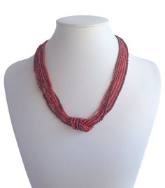 Love Knot Red Burgundy | Indigo Heart - Fair Trade Fashion A$19.50 Red Necklace, Beaded Necklace, Fair Trade Fashion, Knots, Artisan, Jewelry Making, India, Beads, Red Burgundy
