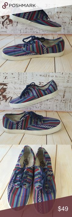 Mexican Serape print skater shoes UNISEX Name: Vans   Size: Men US 9 Women US 10.5  Color: multi color stripes  Material: canvas  Style: Mexican Serape  All shoes are CLEANED and SANITIZED and leather is Conditioned before shipping to you  VERY GENTLY WORN Vans Shoes Athletic Shoes