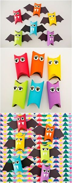 Cute Halloween craft for kids. Make these as Halloween … Rainbow paper tube bats. Nice Halloween craft for kids. Make these as Halloween favors or colorful decorations! Theme Halloween, Halloween Favors, Halloween Bats, Paper Halloween, Halloween Kids Decorations, Halloween Coloring, Halloween Costume Kids, Halloween Kunst, Halloween Labels