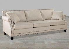 Beige Linen Rolled Arm Sofa With Nailheads #SilverCoastCompany