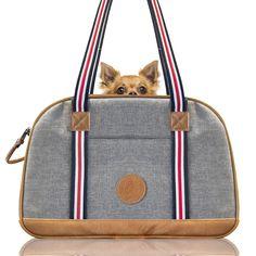 The Bowling Bag – die Hundetasche  Diese Hundetasche ist vom witzigen Stil einer Bowling Tasche inspiriert. Ausgestattet mit einem weichen Kissen für den Boden, einer Sicherheitsleine und einem Dach aus Netz sowie einem Seitenfenster aus Netz ist diese Tasche für Hunde bis zu 8 kg ein sicherer und angenehmer Ort. Durch die Netzfenster zirkuliert immer genügend Luft durch die Tasche und sorgt für ein angenehmes Klima.  Bowling Bags, Mesh, Products, Boden, Pillows, Bags