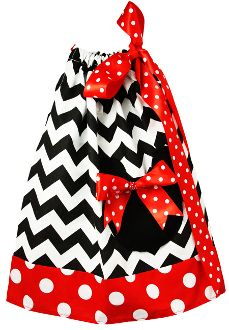 Black Chevron with Red and White Polka Dot Trim and Minnie Mouse Applique Pillowcase Dress.