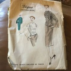 Short box jacket has double breasted closing below slightly built up collarless neckline. Long sleeves open from lower edge, extend on shoulders. Skirt Patterns Sewing, Coat Patterns, 1 Piece Dress, Vintage Vogue Patterns, Scarf Dress, Cool Suits, Double Breasted, Cap Sleeves, Pattern Design
