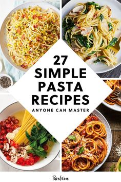 It doesn't take a million fancy ingredients to make an incredible meal. Don't believe us? Here are 27 simple pasta recipes made with classic veggies and fridge and pantry staples, perfect for beginners and experts alike. Now off you go, master chef. #simple #pasta #recipes Easy Pasta Recipes, Easy Dinner Recipes, Healthy Recipes, Good Food, Yummy Food, Tasty, Food To Make, Meals, Cooking