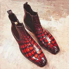 Alligator Chelsea Boots Alligator Slip On Dress Boots for Men Mens Shoes Boots, Leather Dress Shoes, Men's Boots, Dress With Boots, Shoe Boots, Man Fashion, Fashion Boots, Luis Vuitton Shoes, Feelings Wheel