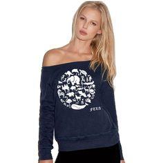 Off the Shoulder Navy Triblend Fleece Sweatshirt - Co-Exist | End Captivity