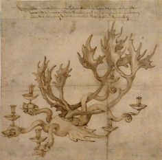 Albrecht Durer Drawing | Albrecht Durer, Drawing after Dragon Chandelier by Veit Stoss, 1513 ...