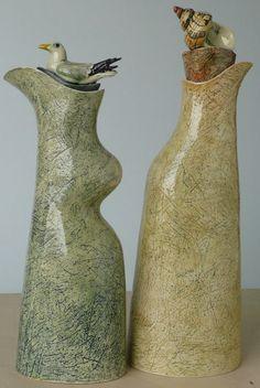 """Bottles with Shell and Kittiwake knobs"" - Anna Lambert (earthenware)"