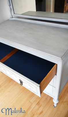 Blue pop of colour inside drawers. Annie Sloan's Paris Grey Chalk Paint™ with Napoleonic Blue in the drawers.