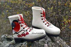Женская обувь. Зимняя обувь. NewVoilok. Женские валяные ботинки, стильные валяные ботинки, ботинки со снегирями.