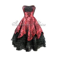 Gothic Black & Red wedding dress   Halloween/Gothic Wedding attire  ... ❤ liked on Polyvore featuring dresses, gothic clothing dresses, kohl dresses, gothic dress, gothic lolita dress and red goth dress