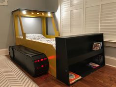 Bulldozer bed with reading light, headlights, and color changing track LED lights