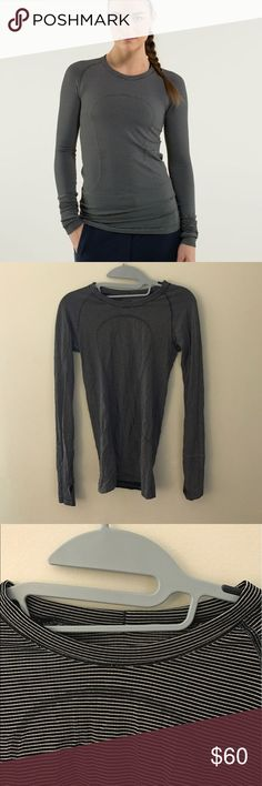 Lululemon Swiftly Tech Long Sleeve Crew Striped Great condition! Size 4, but I removed the size tag from the inside of the shirt. Retails for $78, and perfect for all seasons! Hope someone can love this as much as I did :) open to offers!! lululemon athletica Tops Tees - Long Sleeve