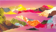On close inspection these other worldly landscapes by artist Kate Shaw appear as a collaged mass of vivid marbling and ombre grounds, but with perspective
