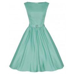 LINDY BOP 'AUDREY' HEPBURN STYLE VINTAGE 1950's PASTEL GREEN ROCKABILLY SWING DRESS