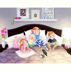 Movie night is Best on mom and dad's bed! Family Illustration, Children's Book Illustration, Drawing For Kids, Painting For Kids, Cutie And The Beast, Anime Girl Cute, Family Movie Night, Illustrators On Instagram, Character Drawing