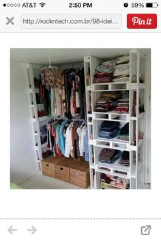 Storage rack/closet organizer made from pallets. Recycle furniture
