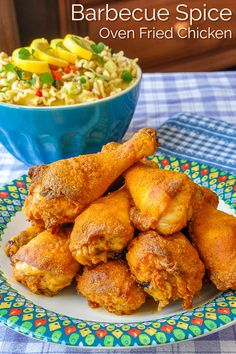 Barbecue Spice Oven Fried Chicken - Crispy oven fried chicken that uses a wonderfully flavourful barbecue spice dry rub to flavour the chicken coating. Rock Recipes, Meat Recipes, Chicken Recipes, Dinner Recipes, Cooking Recipes, Healthy Recipes, Bbq Chicken, Crispy Oven Fried Chicken