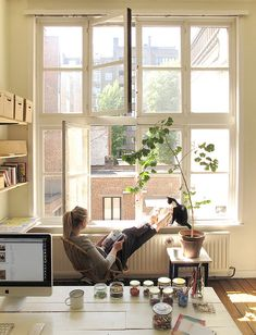 Plants, light, big desk, coffee