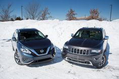 It was a close one...but we win:) 2015 Nissan Murano vs. Jeep Grand Cherokee  #crossover   #Nissan   #Murano   #SUV   #carreviews   #midsize   https://www.cars.com/articles/2015-jeep-grand-cherokee-versus-2015-nissan-murano-1420676915826/?cmp=sf8163056+sf8163056