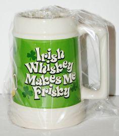 Large Beer Stein Irish Whisky Makes Me Frisky Hilarious Novelty Gift Drink Mug