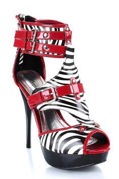 Sandália vermelha e preta
