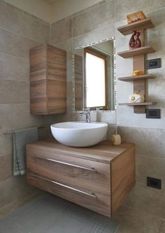In addition to being a storage solution, bathroom furniture is an inseparable part of the integral design of this room. Bathroom Design Small, Bathroom Interior Design, Modern Bathroom, Master Bathroom, Bad Inspiration, Bathroom Inspiration, Bathroom Sink Bowls, Floating Bathroom Vanities, Washbasin Design