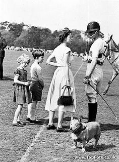 Elizabeth II, duke of Edinburgh, princess Anne and prince Charles of England on a racetrack (game of polo). HRL-59766
