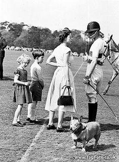 Elizabeth II, duke of Edinburgh, princess Anne and prince Charles of England on a racetrack (game of polo). HRL-59766