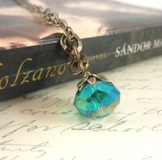Teal Pendant Bronze Vintage Inspired Faceted by RockStoneTreasures, $28.00