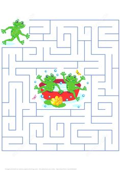 Help the Frog to Join His Friends Labyrinth Puzzle Puzzle game Tracing Sheets, Math Sheets, Mazes For Kids, Indoor Activities For Kids, Free Printable Puzzles, Free Printables, Hard Brain Teasers, Dots And Boxes, Maze Worksheet