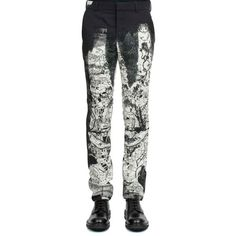 Alexander Mcqueen Printed Trousers ($1,045) ❤ liked on Polyvore featuring men's fashion, men's clothing, men's pants, men's casual pants, multicolor, colorful mens pants and men's 5 pocket pants