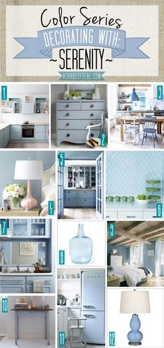 Color Series; Decorating with Serenity, pale blue, light blue, gray blue home décor. Pantone color of the year 2016   A Shade Of Teal