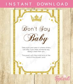 Don't Say Baby Game Baby Shower Games Printable Princess Baby Shower Games Don't Say Baby Sign Diaper Pins Clothes Pins Game 0020A  by TppCardS #tppcards #printable #invitations