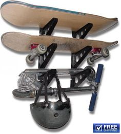 Skateboard Rack 3 Boards Bag Pack Hanger Wall Mount Water Ski Snowboard #StoreYourBoard