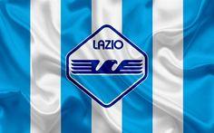 Download wallpapers new Lazio emblem, Italy, Serie A, football, 4k, Lazio, Italian football club, silk flag, new logo